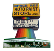 Space Age Auto Paint Store Logo